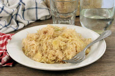 Plate of unsweetened sauerkraut Stock Photo