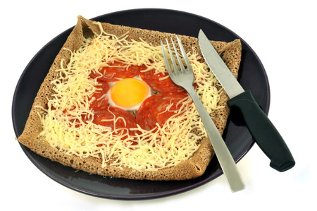 Galette with an egg and cheese Stock Photo
