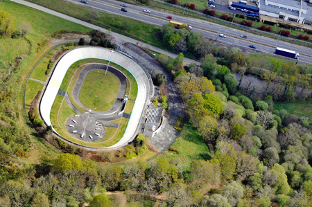 Aerial view of the Kermesquel velodrome in Vannes Stock Photo
