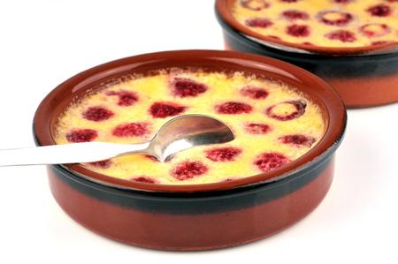 Clafoutis with raspberries Stock Photo