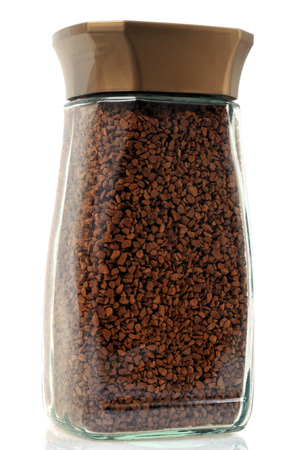Jar of freeze-dried coffee on a white background