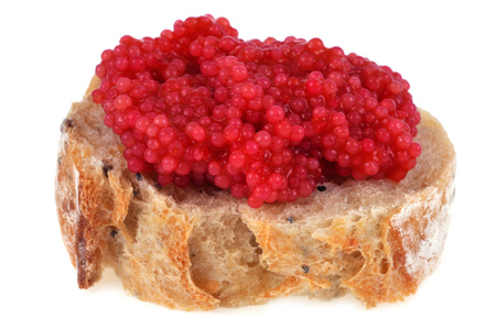 Bread toast with red lump eggs