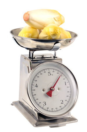 Endives on a kitchen scale