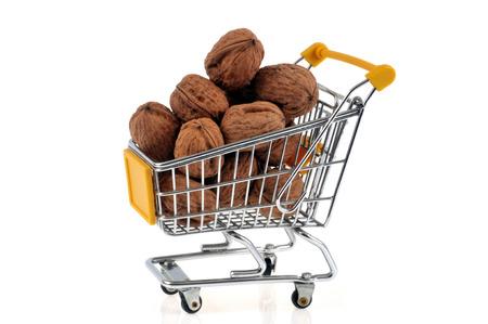 Walnut shopping cart on white background