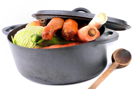 Preparing a pot-au-feu on a white background