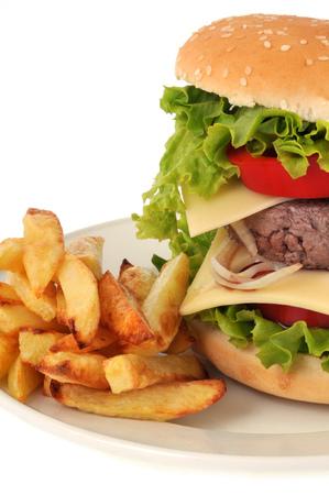 Hamburguesa y papas fritas en un plato Foto de archivo