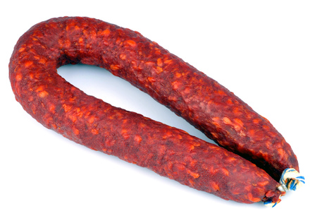 Chorizo on a white background Banque d'images