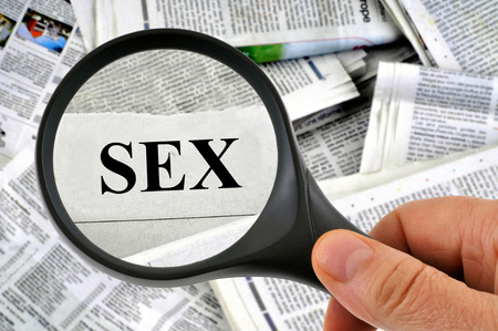 Sex with a magnifying glass 스톡 콘텐츠