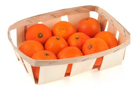 Tangerines tray on a white background