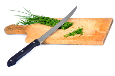 Chives on a cutting board