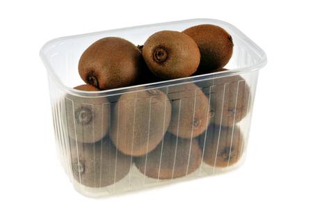 Tray of kiwi fruit on a white background