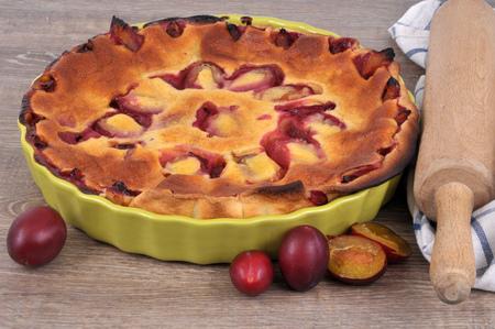 Plum pie in a dish
