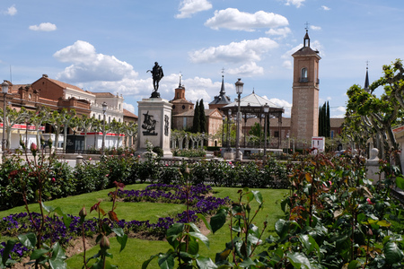 Cervantes Square in Alcala de Hernares Stock Photo