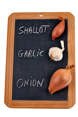 Garlic, shallot and onion written on a school slate