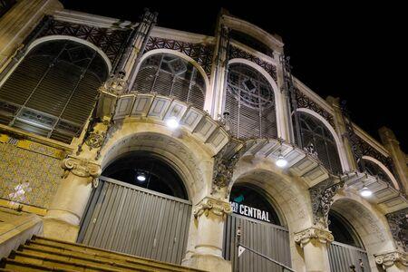 Valencia Central Market at night in Spain