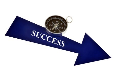 Arrow and compass indicating the direction of success