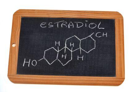 Chemical formula of estradiol written on a school slate