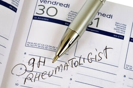 Appointment with the rheumatologist noted in an agenda