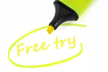 Free try written in neon felt Banco de Imagens