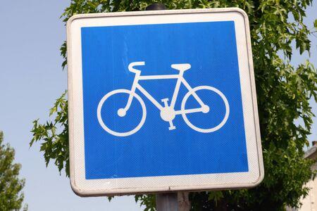 Sign indicating a bike path Banco de Imagens