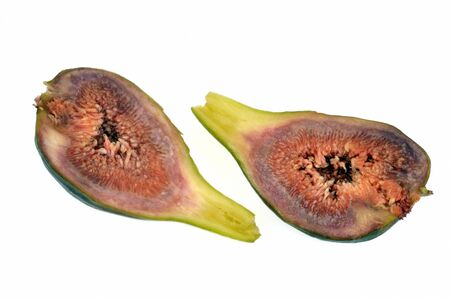 Fresh fig cut in half on white background Stockfoto