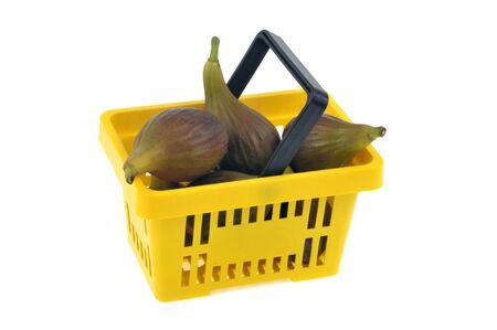 Basket of figs on a white background