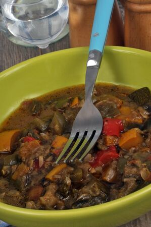 Plate of ratatouille in close up