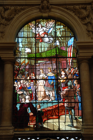 Stained glass of the town hall of Vannes in Brittany