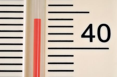 Concept of heatwave with a thermometer displaying more than forty degrees Celsius