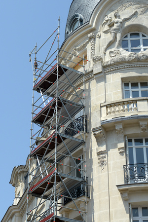 Scaffolding against a building