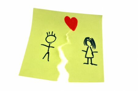 Torn drawing of a couple symbolizing a divorce Stockfoto