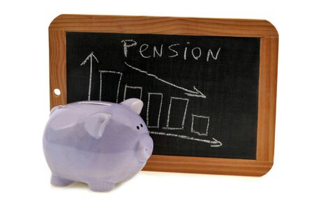 Piggy bank and graph showing the decline of retirement pensions