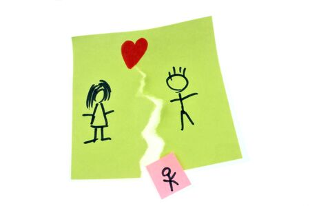 Childcare concept with a torn couple drawing