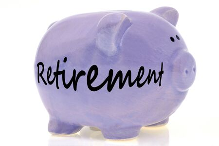 The savings piggy bank for retirement on a white background Stockfoto