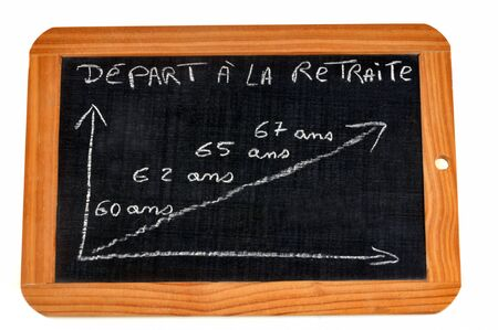 Graph showing the age of retirement in France Stockfoto