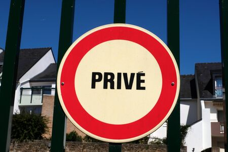 Sign indicating private in French Stockfoto