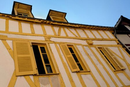 Yellow half-timbered house Stockfoto