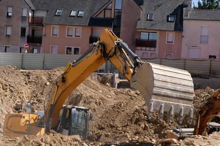 Backhoe at work in a construction site