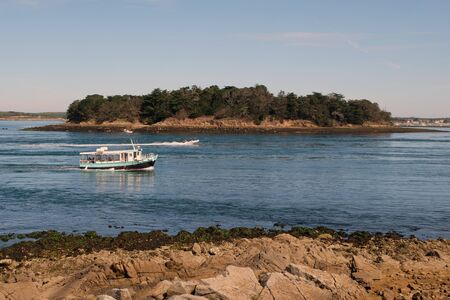 The Long Island in the Gulf of Morbihan in Brittany Stockfoto