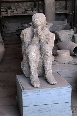 Petrified man from Pompeii Stock Photo