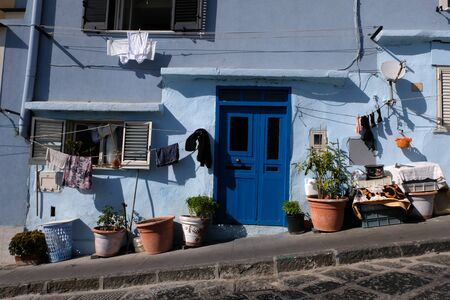 Blue house of Corricella on the island of Procida Stock Photo - 131794710