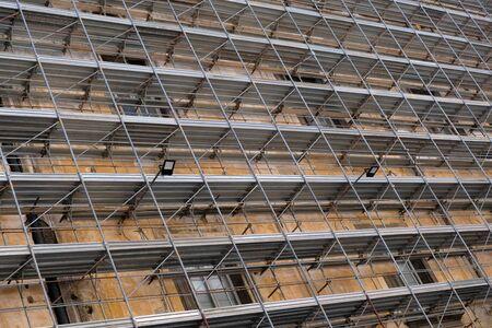 Scaffolding on the facade of a building Stock Photo