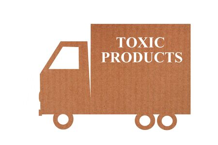 Concept of transport of toxic products in truck