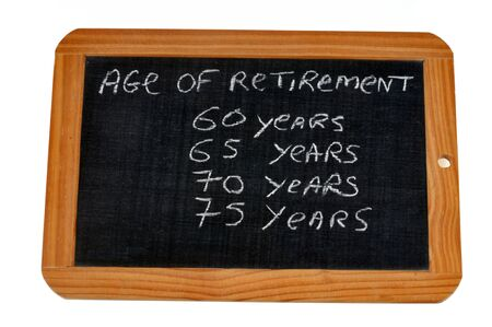 Age of retirement on a school slate Stock Photo