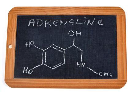 Chemical Formula of Adrenaline written on a school slate