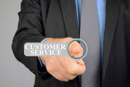 Connection to customer service online Stock Photo