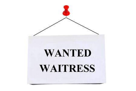 Wanted waitress write on pinned card