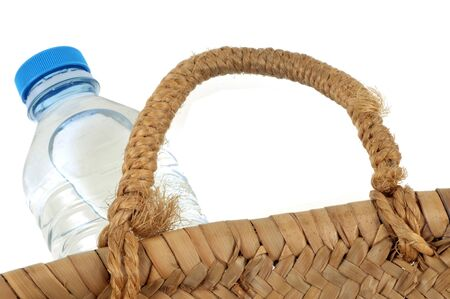 Bottle of mineral water in a basket close up