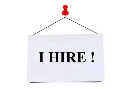 I hire written on pinned card on white background
