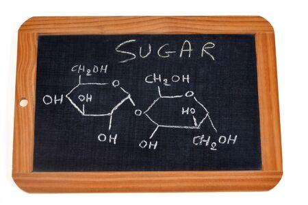 Chemical formula of sugar Stock Photo